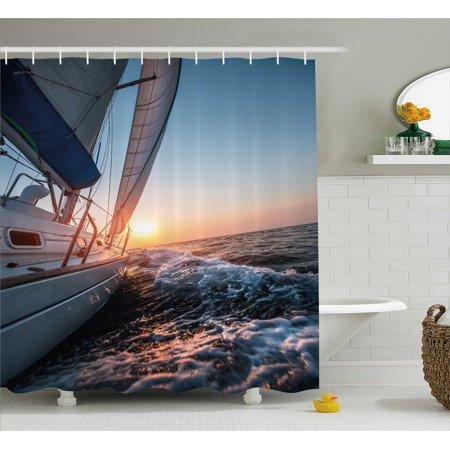 Nautical Shower Curtain Sail Boat In The Sea Waves Toward Sunset Marine Adventure Hobby Scenery