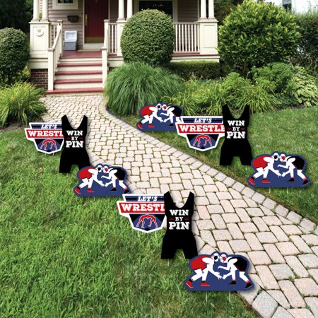 Own The Mat - Wrestling - Wrestler Lawn Decorations - Outdoor Birthday Party or Wrestler Party Yard Decorations - 10 Ct