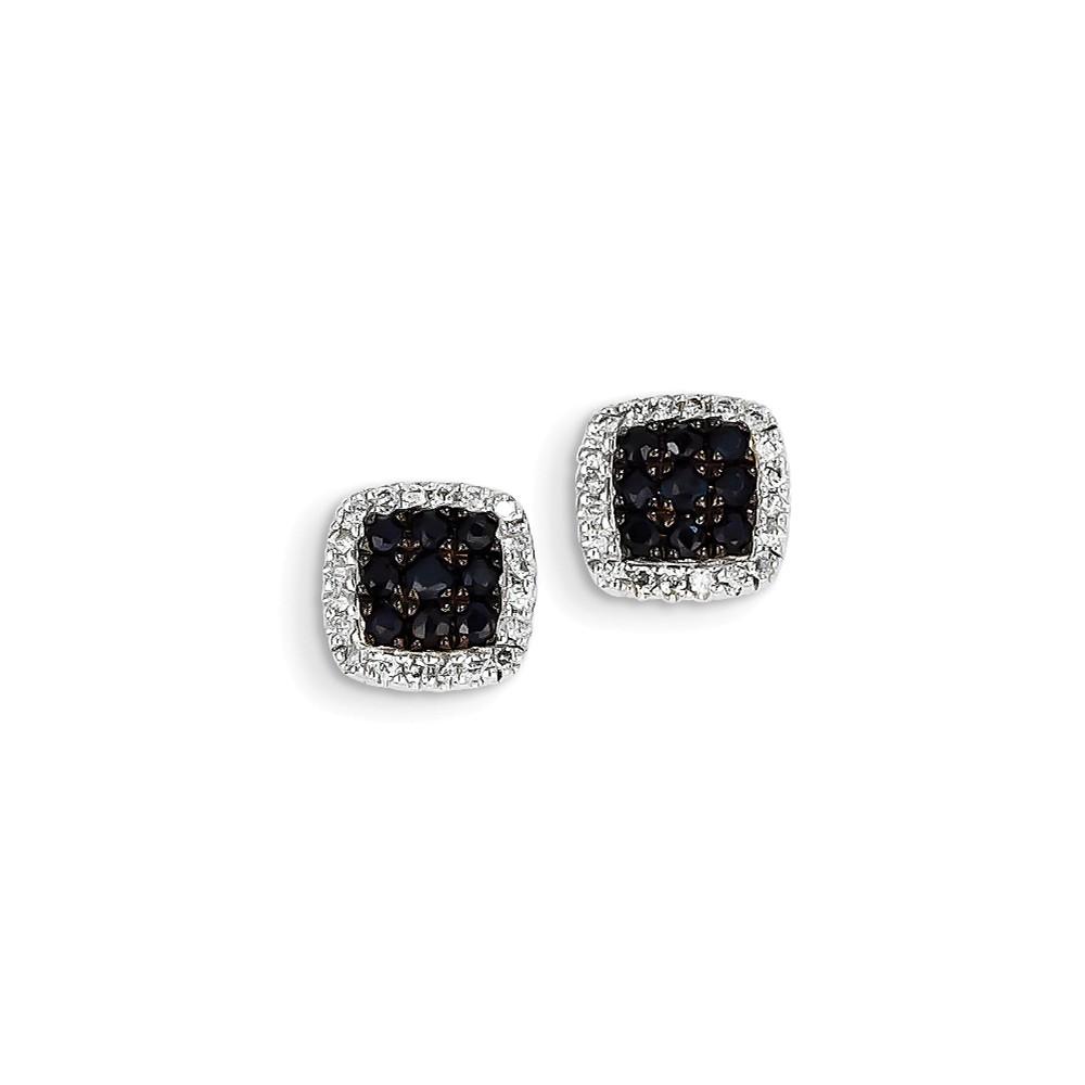 14K White Gold Diamond & Sapphire Post Earrings Carat Wt- 0.2ct. Gem Wt- 0.66ct (9MM)