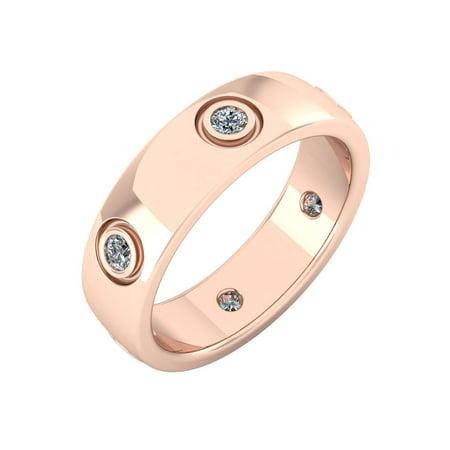 Natural 1.00Ct Round Diamond Domed Anniversary Wedding Eternity Band Ring 18k Gold Bezel Set FG VS2 ()
