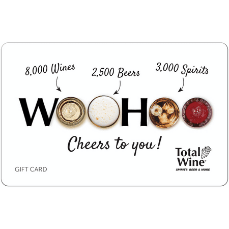 Total Wine $25 Gift Card Total Wine & More is Americas largest independent retailer of fine wine, beer and spirits with over 180+ stores in 22 states, and growing. With 8,000 wines, 3,000 Spirits and 2,500 beers combined with everyday low prices and expertly trained wine associates, Total Wine & More provides a unique shopping experience. Since opening its first store in 1991, Total Wine & More has been committed to being the premier wine, spirits & beer retailer in every community that it serves. For more information about Total Wine & More please visit: http://www.totalwine.com.