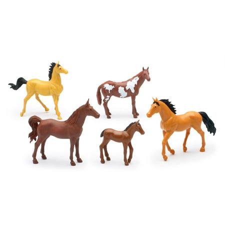 White Horse Farm (Country Life Farm Animal Set, Five Horses Without Saddles (05593D) )