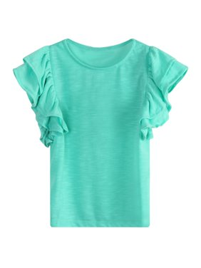 Richie House Girls' cotton knit T-shirt with ruffle sleeves RH1008