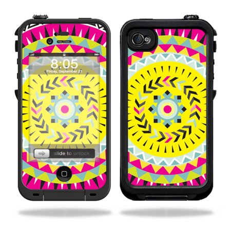 Mightyskins Protective Vinyl Skin Decal Cover for LifeProof iPhone 4 / 4S Case wrap sticker skins Pink (Aztec Pin)