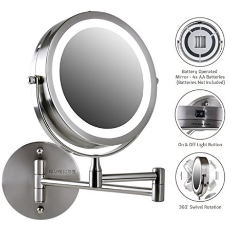 Ovente Wall Mount LED Lighted Makeup Mirror, Battery Operated, 1x/10x Magnification, 7 Inch, Nickel Brushed