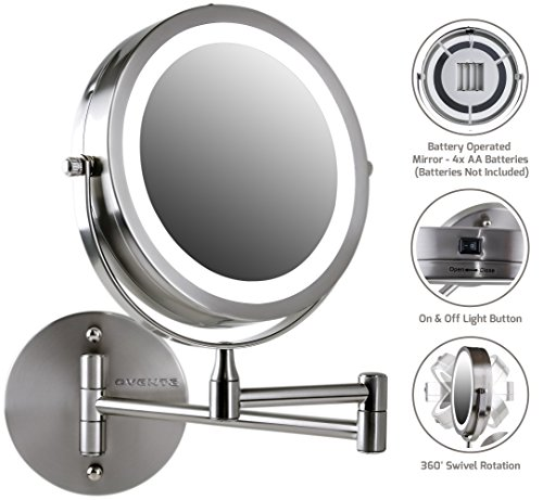 Ovente Wall Mount LED Lighted Makeup Mirror, Battery Operated, 1x/10x Magnification, 7 Inch, Nickel Brushed (MFW70BR1x10x)