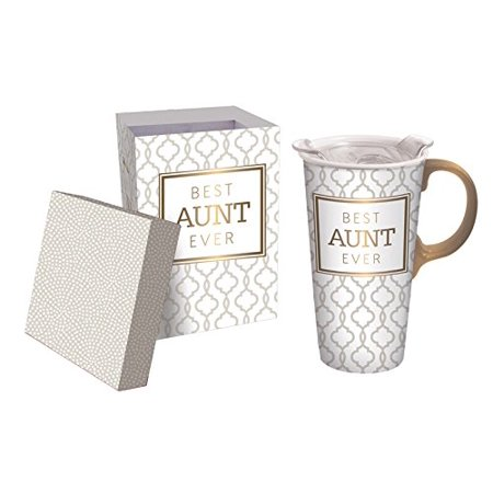 Cypress Home Best Aunt Ever Ceramic Travel Mug with Gift Box, 17 (Best Smoothie Travel Container)