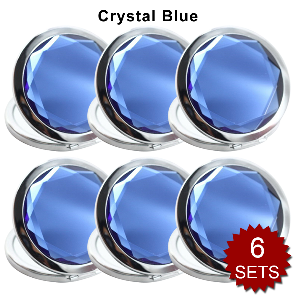 GOGO 6 Sets/Pack Makeup Pocket Compact Mirror With Gift Box, Best Wedding Bridesmaid Gifts-Crystal Blue 6SETS