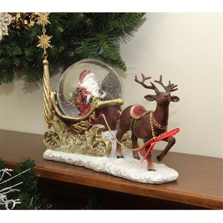 NorthLight 12 inch Santa Claus Sleigh And Reindeer Glitter Dome Snow Globe Christmas Table Top Figure