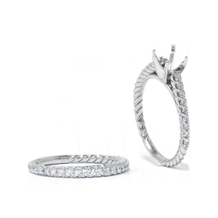 5/8ct Braided Cathedral Pave Ring Set 14K White Gold - image 2 of 3