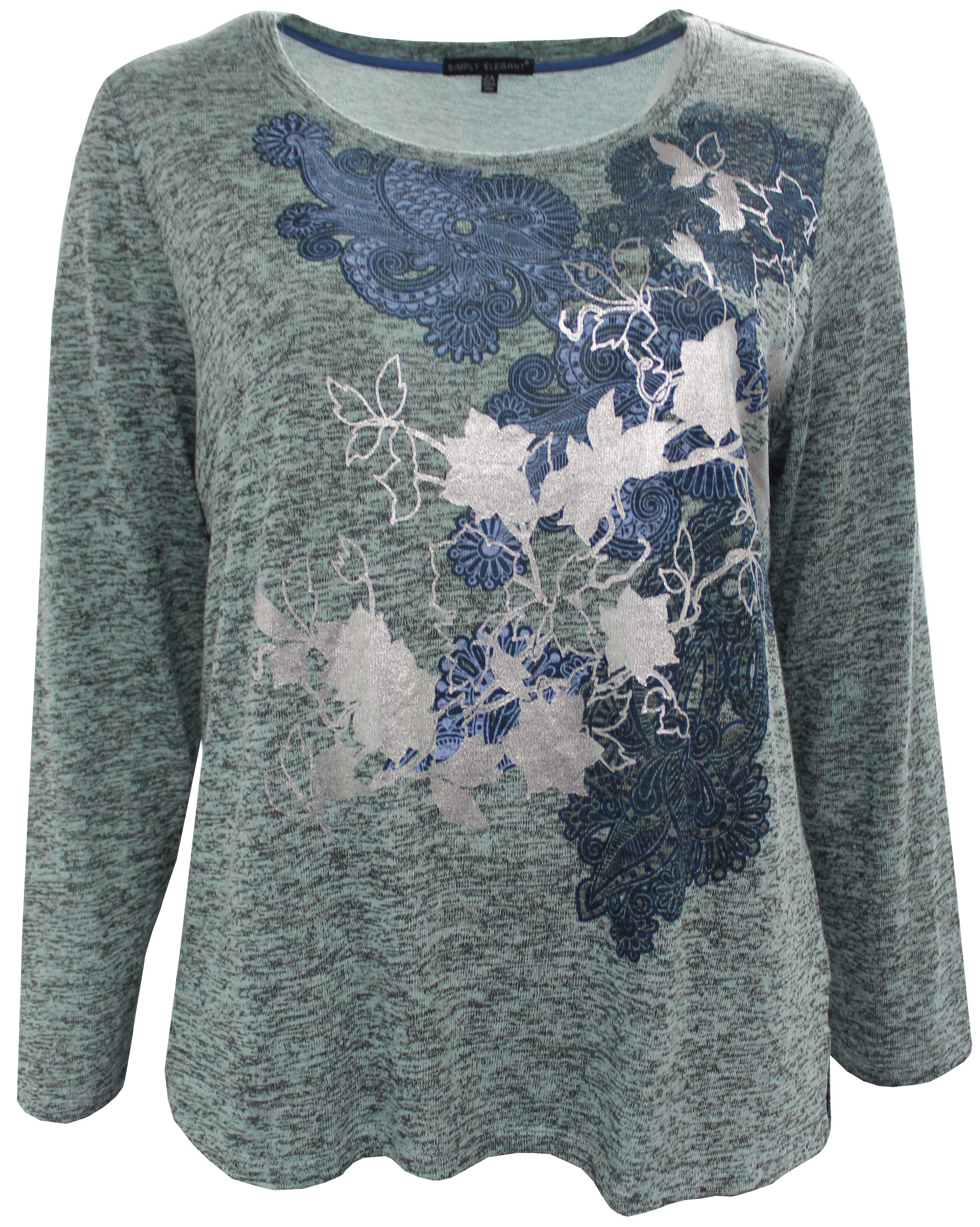 Women's Plus-Size Long Sleeve Floral Foil Design Knit Top Blouse Sweater Aqua 1X G16.047L
