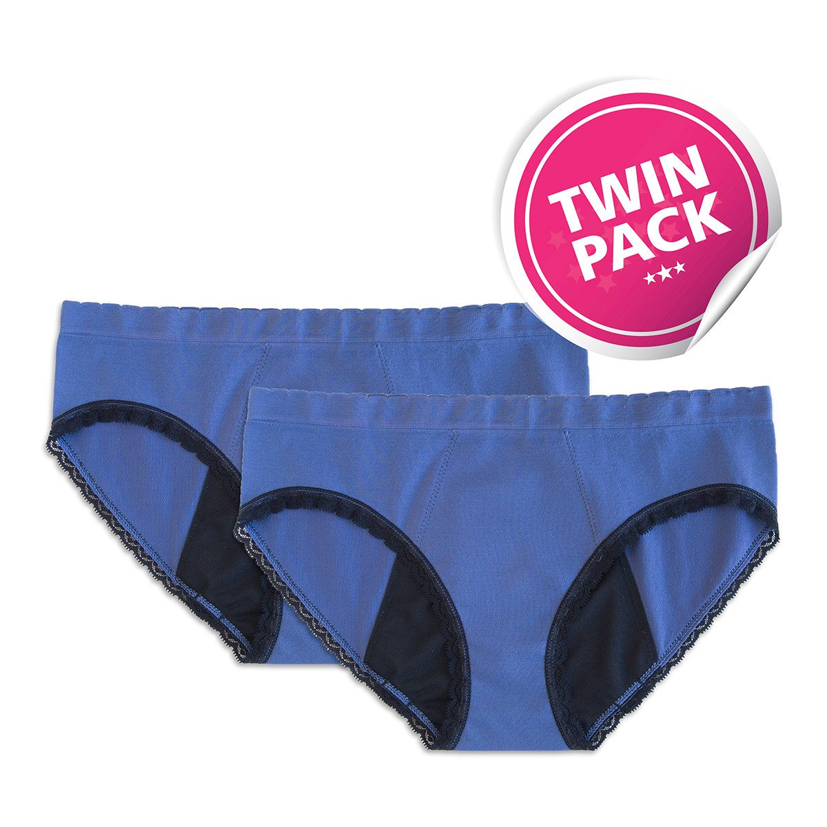 StainFree Reusable Period Panty - 2 Pack Blue Hipster (XS)