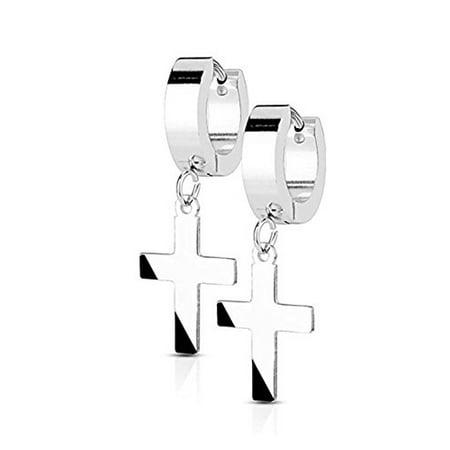14k Stainless Steel Earrings (14MM Hoop Earrings Surgical Stainless Steel Rhodium Plated Earrings For Men Women Huggie Hypoallergenic Cross Dangle Hinged Hoop Earrings (Silver))