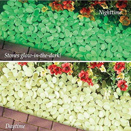 100 Pc Glow in the Dark Stone Pebble Garden Path Outdoor Pathway Trail Flowerbed Walkway Edging Border Yard Decor (Outdoor Yard Decor)