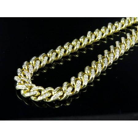 Jewelry Unlimited - Mens Solid Miami Cuban 7.5 MM Diamond Chain Necklace  (28 Inch d800ca53da37