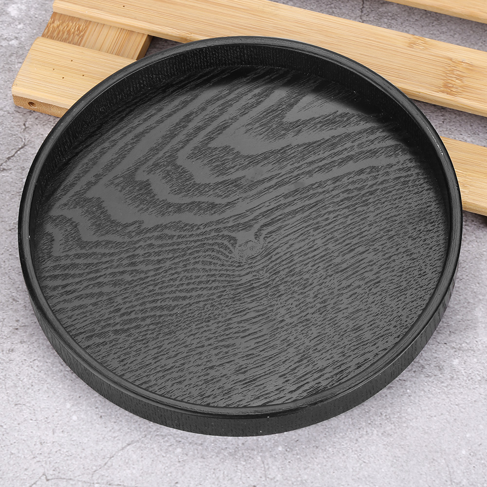 Wooden Round Dinning Table Food Tea Coffee Dessert Serving Tray 27cm Black