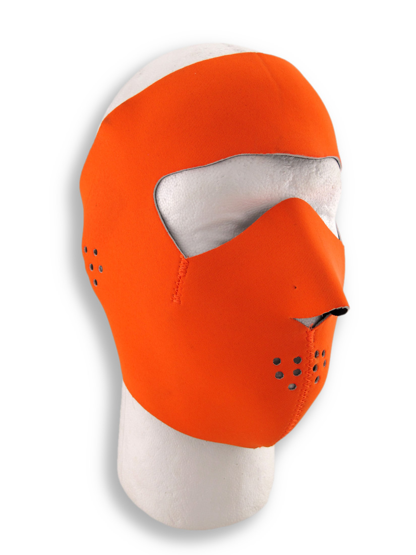 Hunting Snowmobile Skiing ATV Motorcycle Blaze Orange Full Face Mask Neoprene by Capsmith