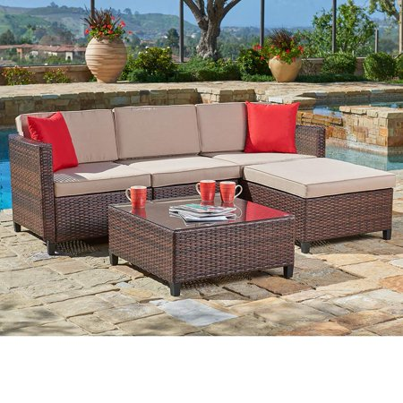 SUNCROWN Outdoor Sectional Sofa (5-Piece Set) All-Weather Brown Checkered Wicker Furniture with Brown Seat Cushions & Modern Glass Coffee Table | Patio, Backyard, - Modern Outdoor Modern Sofa