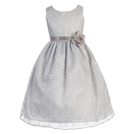 Girls Silver Floral Lace Junior Bridesmaid Dress 8-12 - Girls Silver Dresses