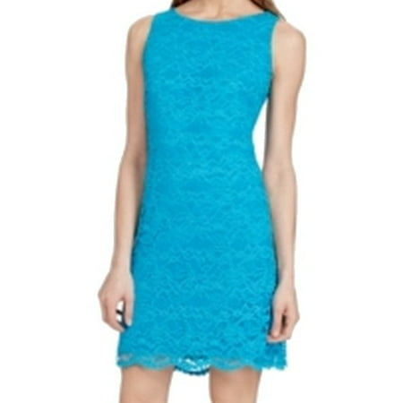 American Living NEW Bright Teal Blue Womens Size 14 Lace Sheath Dress