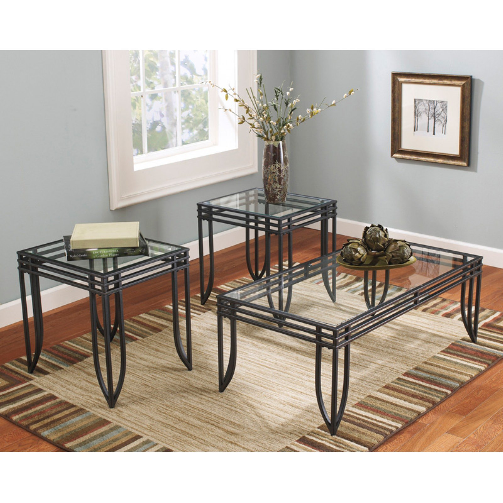 Roundhill Matrix 3 In 1 Accent Table Set With Black Metal Frame, 1 Coffee  Table