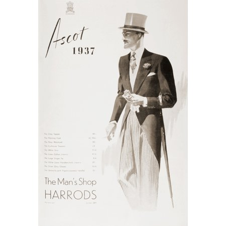 A 1937 advertisement for The Mans Shop Harrods showing a gentleman in top hat and tails ready to visit Ascot  From The Sphere Coronation Record Number published 1937 Poster Print by Hilary Jane Morgan