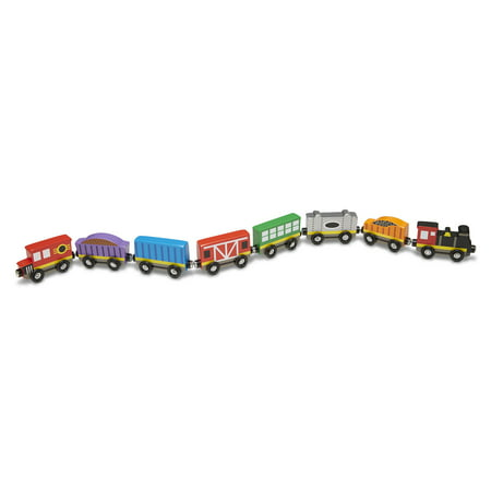 Melissa & Doug Wooden Train Cars (8-Piece Train -