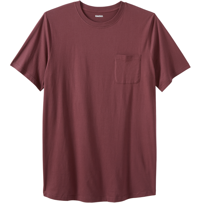 KingSize Mens Big /& Tall Shrink-Less Lightweight Pocket Crewneck T-Shirt