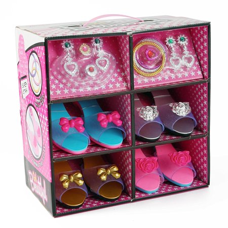 American Princess Jewelry Set - Princess Dress up & Play Shoe and Jewelry Boutique, This Dressup Princess Jewelry Set Includes 4 Pairs of Shoes in different styles & colors + Fashion Accessories include rings, bracelets, & earrings