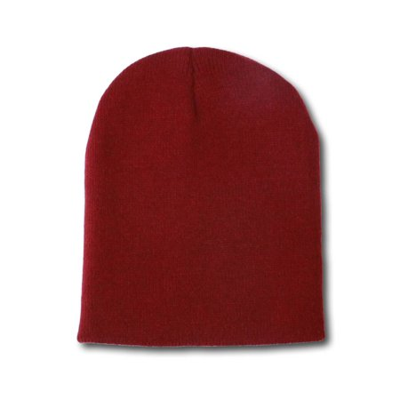 4f243926f850 Solid Winter Short Beanies (Comes In Many Different Colors), Maroon - image  1 ...