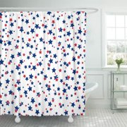 CYNLON American Patriotic Stars in Bright Red Blue and White Bathroom Decor Bath Shower Curtain 66x72 inch