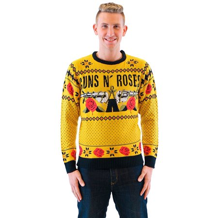 guns n roses text and logo mustard ugly christmas sweater walmartcom - Ugly Christmas Sweaters At Walmart