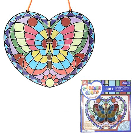 Mobee Peel and Press Stained Glass Stickers Butterfly Easy Craft Activity Kit with Ready-to-Hang Cord and Suction Cup- 140+ Stickers](Stained Glass Stickers)