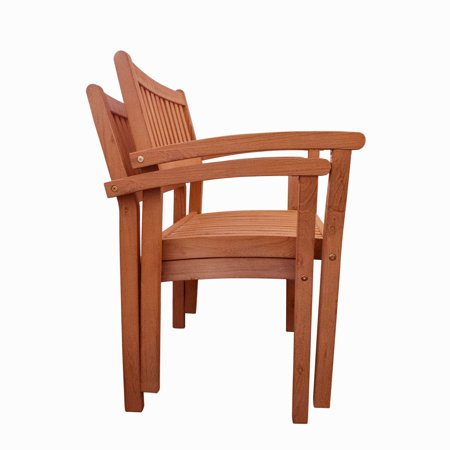 Vifah V1387 Malibu 23 Inch Wide 2 Piece Eucalyptus Dining Chair Set (Chair Eucalyptus Wood)