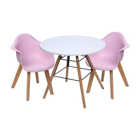 Gift Mark Mid-Century Modern Round Kids Table with Pink Arm