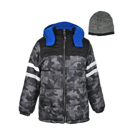 3390ab48d iXtreme - Hooded Camo Puffer Jacket Coat with Free Hat
