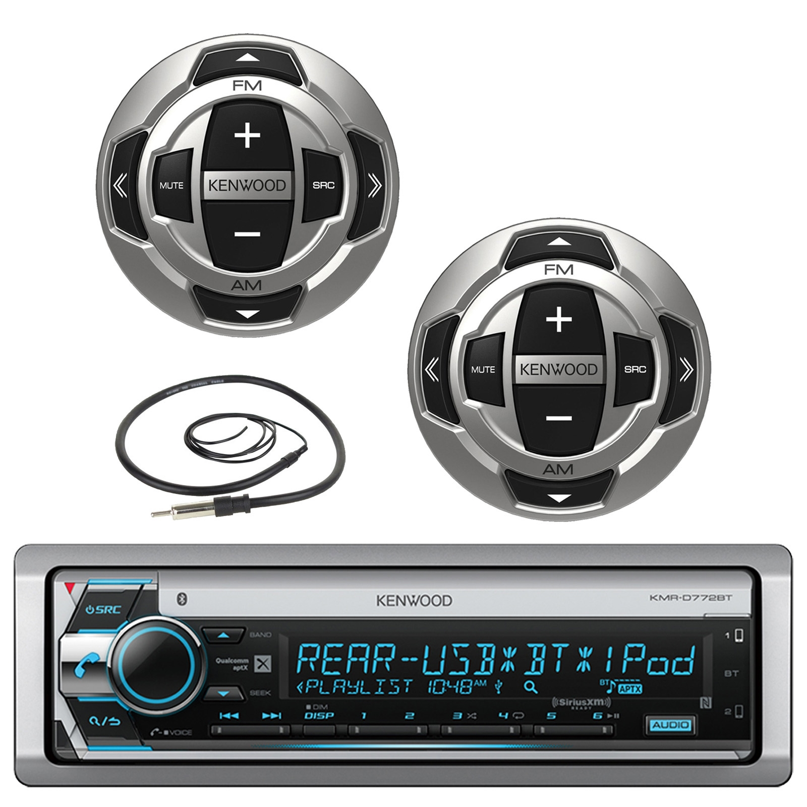 """Kenwood Single DIN Marine Boat Yacht USB CD Player Bluetooth Stereo Receiver, 2x Kenwood Wired Remote, 22"""" Enrock AM/FM Antenna"""