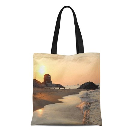 SIDONKU Canvas Tote Bag Beautiful Sunset at Fort in Virginia Beach Water Waves Reusable Handbag Shoulder Grocery Shopping Bags ()