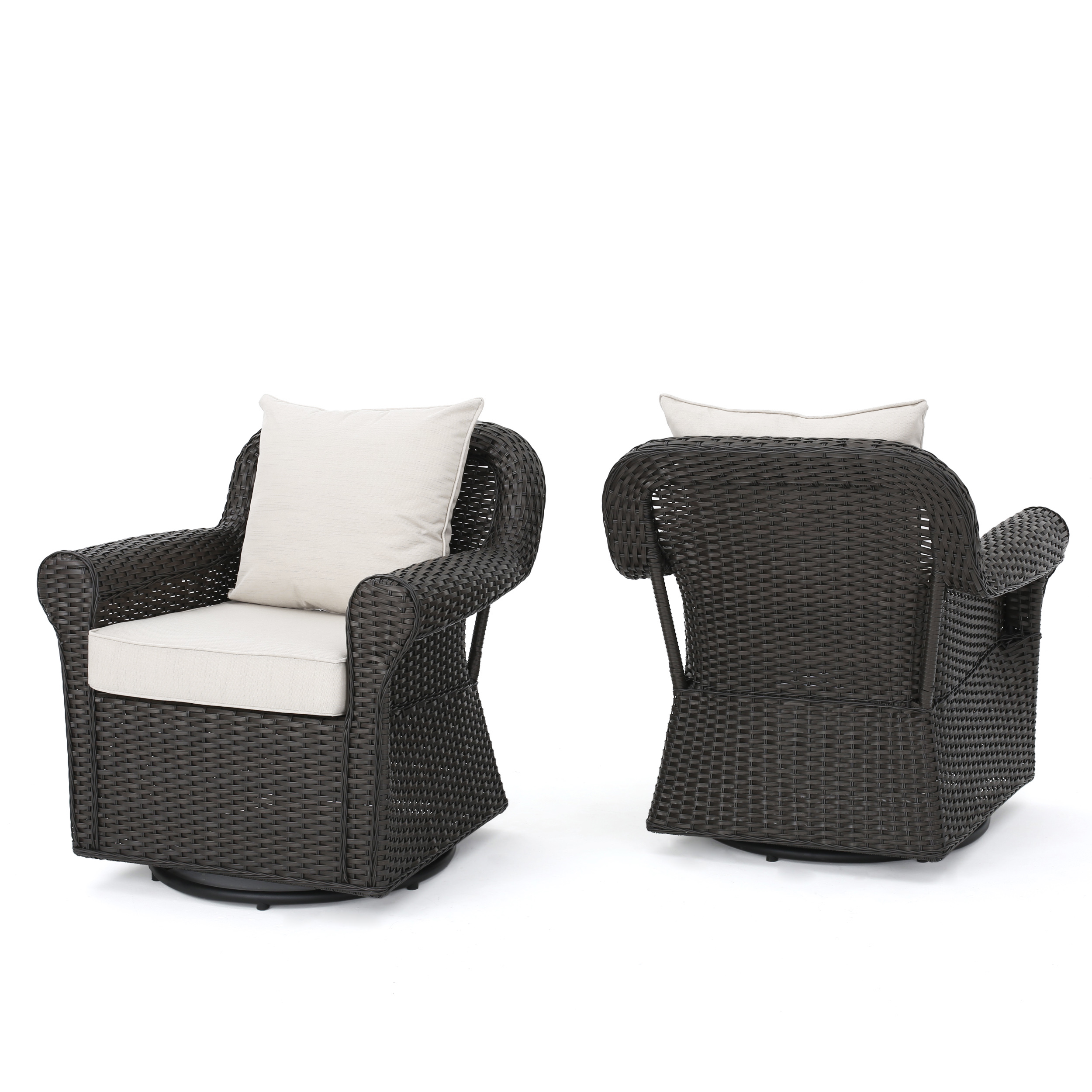 Admiral Outdoor Dark Brown Wicker Swivel Rocking Chair with Cushions, Set of 2, Beige by GDF Studio