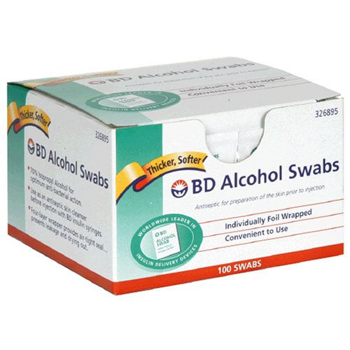 Regular Alcohol Swabs, 100 ct, Ship from USA,Brand BD