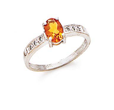 14k White Gold Citrine and Diamond Ring .06 dwt Size 7.0 by