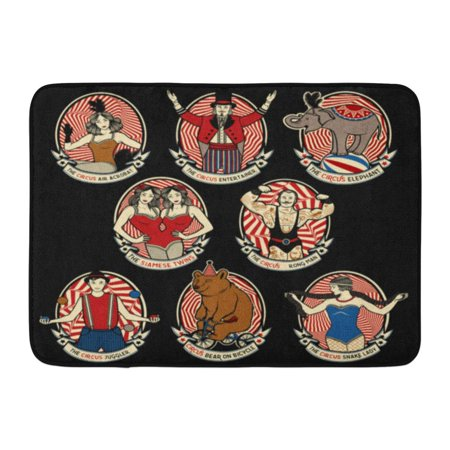 Siam Collection - KDAGR Vintage Circus Collection The Strong Man Siamese Twins Entertainer Air Acrobat Snake Lady Juggler Doormat Floor Rug Bath Mat 23.6x15.7 inch