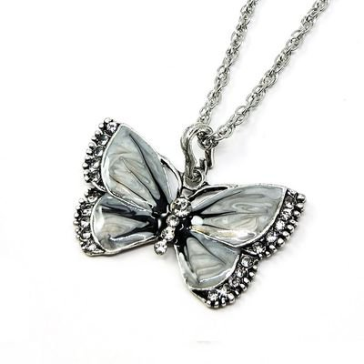 AkoaDa Vintage Drop Oil Painted Diamond Butterfly Necklace Alloy Fashion Long Sweater Chain Red Coral Butterfly Necklace