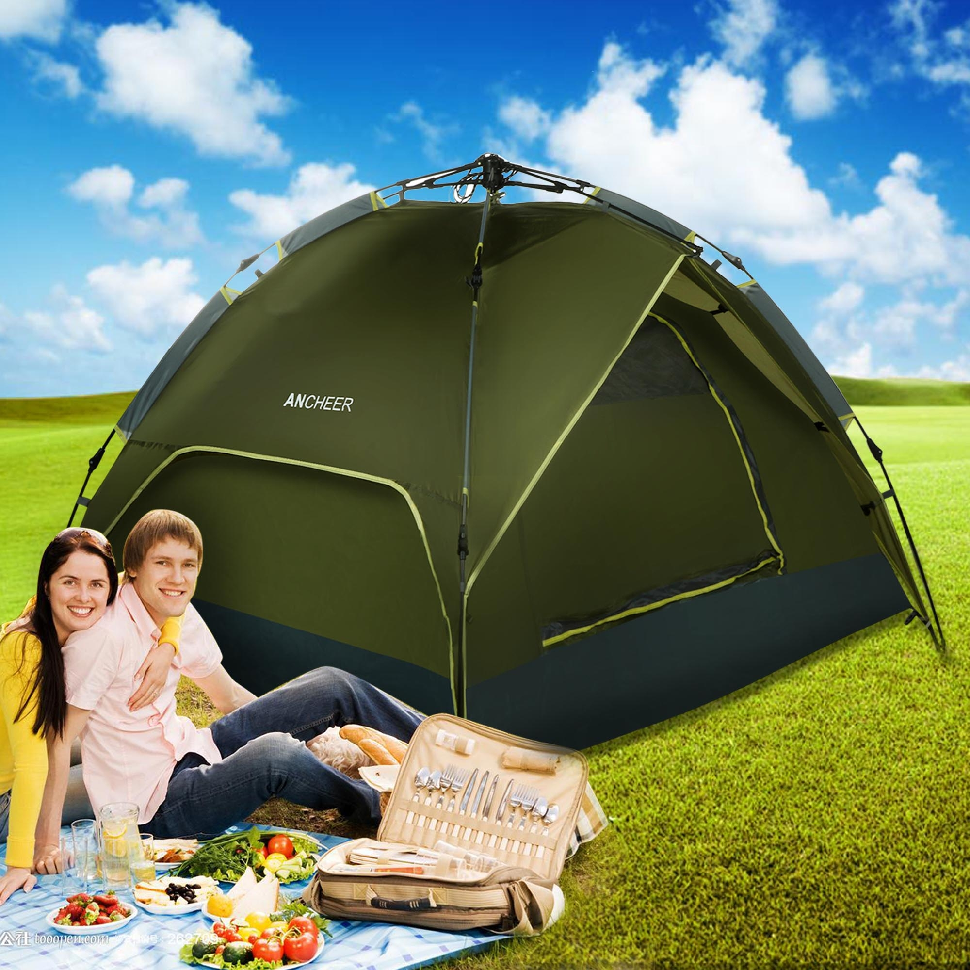 4 Person Folding Camping Tent Family 2 layer Outdoor Sleeping Dome Portable by