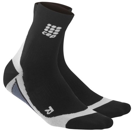 CEP Men's Dynamic+ Short Compression Socks, Running/Athletic Socks-Black/Gray
