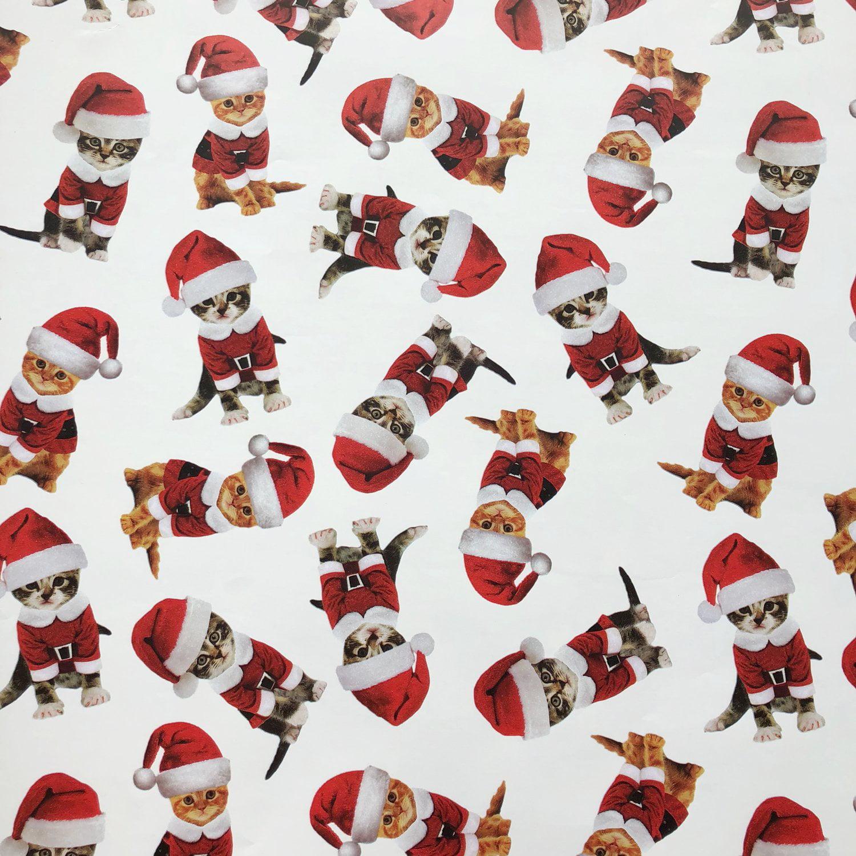 "Jillson & Roberts Bulk Gift Wrap, Kitty Christmas, 1/4 Ream 208' x 24"""