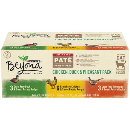 Perigord Duck Pate ((12 Pack) Purina Beyond Grain Free, Natural Pate, Chicken, Duck & Pheasant Recipe Variety Pack, Wet Cat Food, 3 oz. Cans )