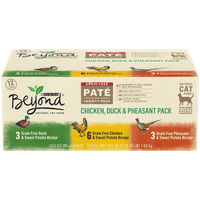 Purina Beyond Grain Free, Natural Pate Wet Cat Food; Chicken, Duck & Pheasant Recipe Variety Pack - (12) 3 oz. Cans