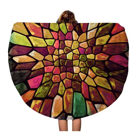 JSDART 60 inch Round Beach Towel Blanket Colorful Abstract Mosaic Color Big Gap Bending Block Ceramic Travel Circle Circular Towels Mat Tapestry Beach Throw - image 1 of 2