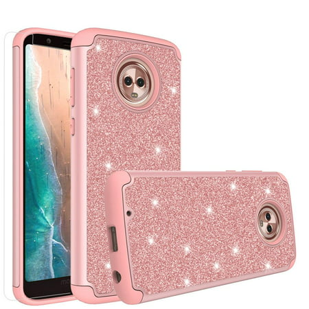 Moto G6 Case, Moto G6 2018 Case,Glitter Bling Silicone Shock Proof Hybrid Case [HD Screen Protector] Dual Layer Protective Phone Case Cover for Motorola Moto G6 Case, Moto G6 2018 - Rose Gold